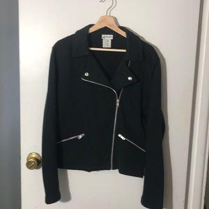 Disney Parks Black Sweatshirt Material Moto Jacket